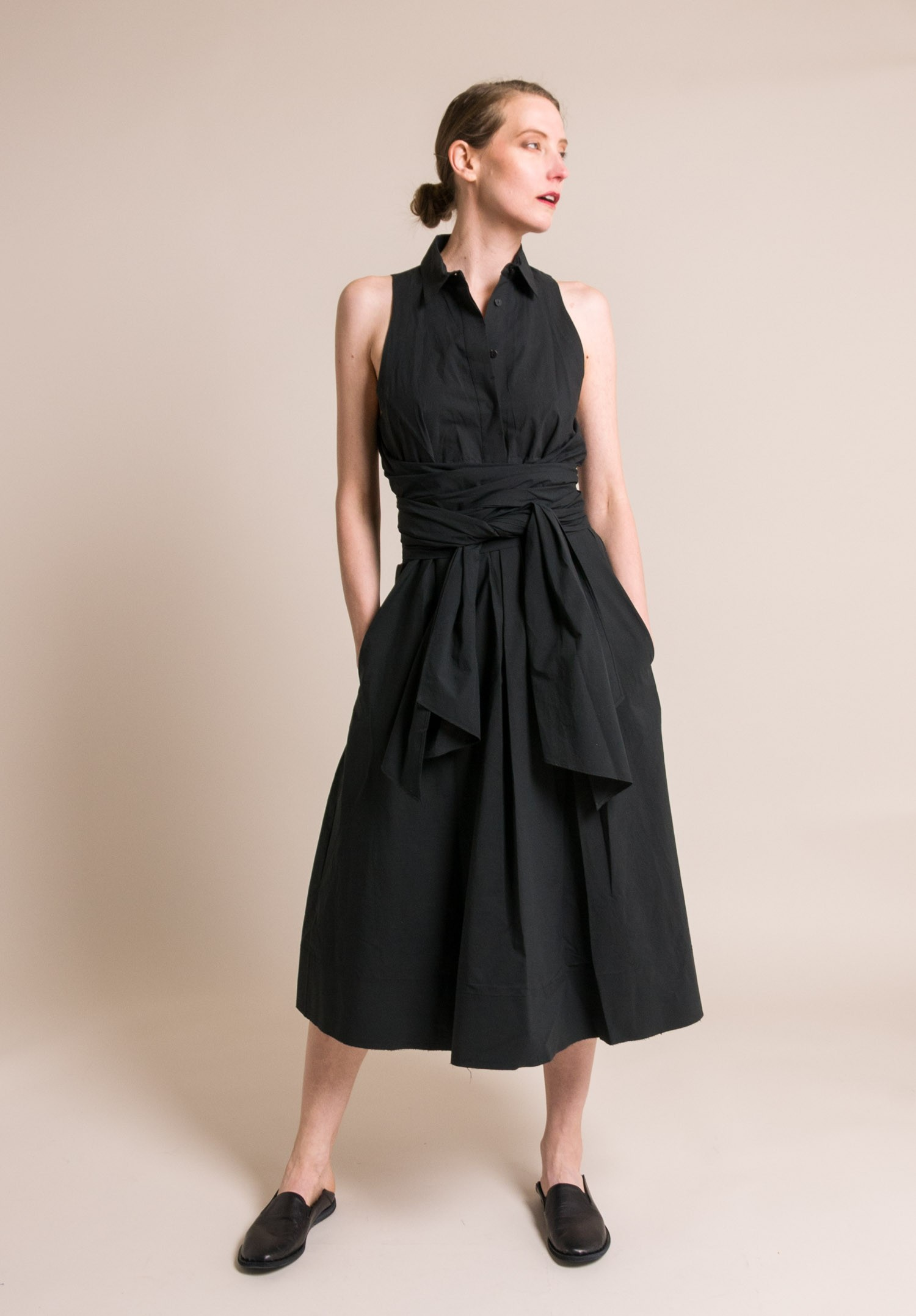 Urban Zen Sleeveless Wrap Tie Shirt Dress In Black